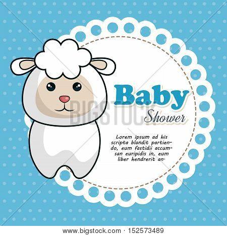 baby shower invitation with cute lamb vector illustration design