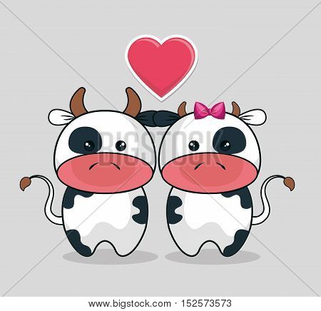 baby shower invitation with heart and cute cows vector illustration design