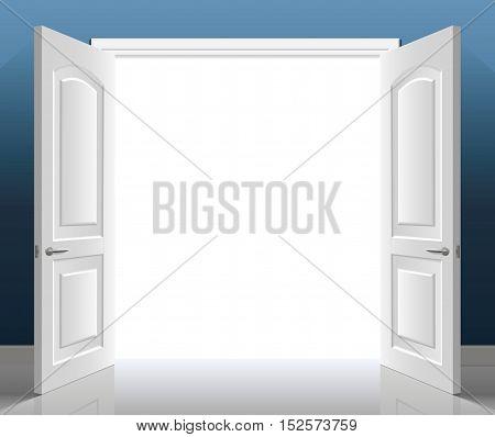 Open classic white double door. Vector graphics