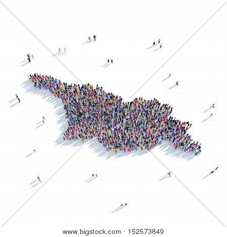 Large and creative group of people gathered together in the form of a map Georgia, a map of the world. 3D illustration, isolated against a white background. 3D-rendering.