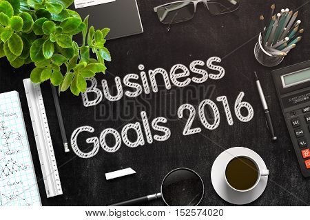 Black Chalkboard with Business Goals 2016. 3d Rendering. Toned Illustration.