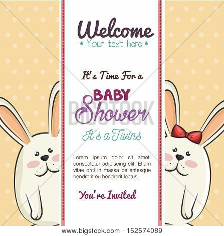 baby shower invitation with cute rabbits vector illustration design