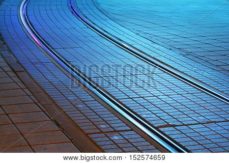 Tramway rails at night