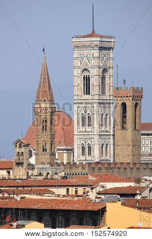 Landscape view of bell towers in Florence, Italy