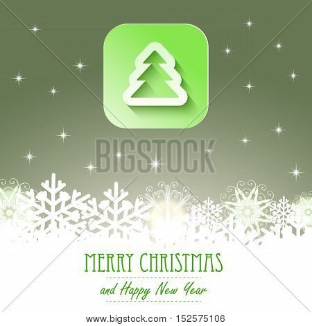 Christmas icon with paper effect. Christmas backgound with snowflakes. EPS10 vector illustration. green gradient