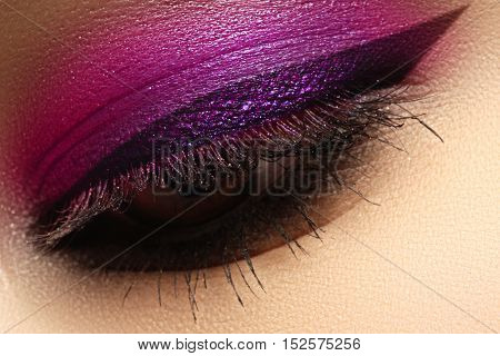 Beautiful Macro Shot Of Female Eye With Creative Makeup. Bright