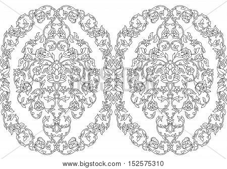Vector intricate seamless border in Eastern style on white background. Ornate element for design.Monochrome line art. Traditional floral decor.