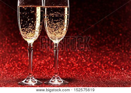 Pair glass of champagne. studio shot. valentine day concept