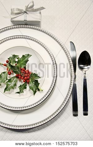 Elegant christmas table place setting