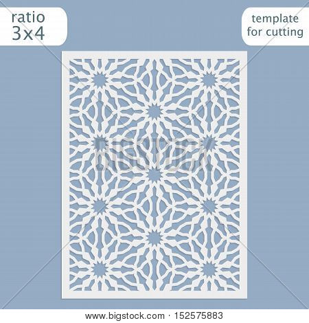 Laser cut wedding lace  invitation card template on blue. Cut out the paper card with lace pattern. Greeting card template for cutting plotter. Vector.