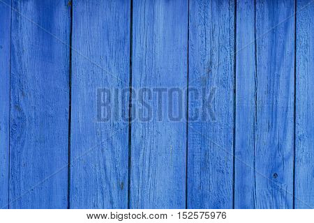 Old Blue Obsolete Wooden Wall Board Background Texture