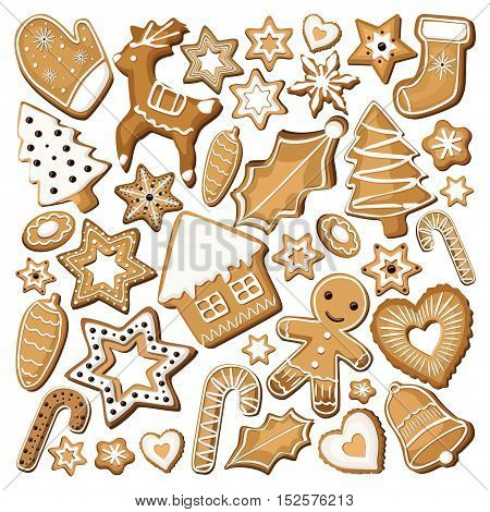Gingerbread ginger cookie cookies bisquit sweets different set setting icing xmas Christmas holiday decor. Vector beautiful square top view closeup sign design illustration isolated white background