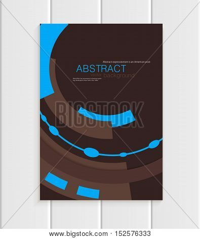 Stock vector brochure in abstract style. Design business templates with blue rounds, rectangular shapes on dark brown background for printed materials, elements, web sites, cards, covers, wallpaper