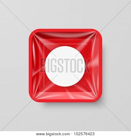 Empty Red Plastic Food Square Container with Round Label
