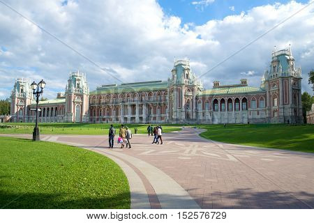 MOSCOW, RUSSIA - SEPTEMBER 06 2016: The Great Tsaritsyno Palace, cloudy september day. Historical landmark of the city Moscow