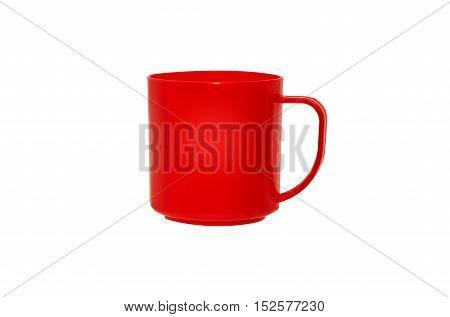 mug red plastic isolated on white background