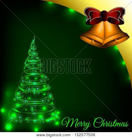 Christmas tree from the luminous lines on a green background with bells