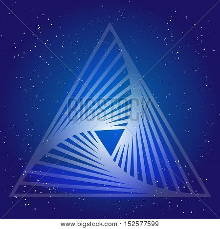 Sacral geometry design with triangle on background of space and stars. Magic symbol