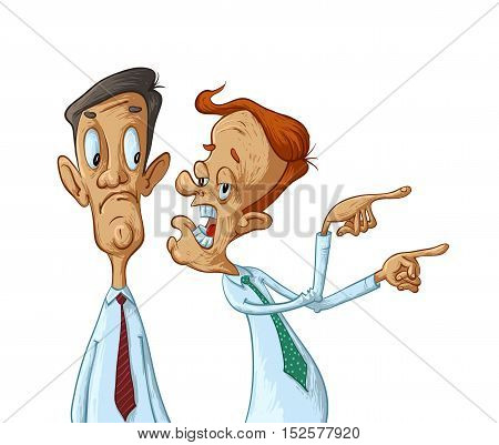 Two business men gossip vector cartoon illustration