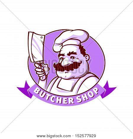 Butcher shop emblem. Smiling butcher with knife