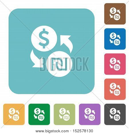 Flat Dollar new Shekel exchange icons on rounded square color backgrounds.