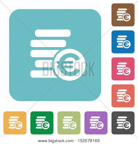 Flat Euro coins icons on rounded square color backgrounds.