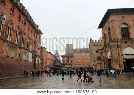 Neptune Square In Bologna, Italy