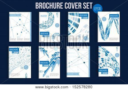 Blue Brochure mega set template layouts, cover design, annual report, magazine, flyer, leaflet in A4 with shapes for business and construction