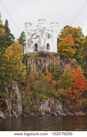 The island-necropolis Lyudvigshtayn. Monrepo (Mon Repos) park. Autumn landscape. Vyborg.