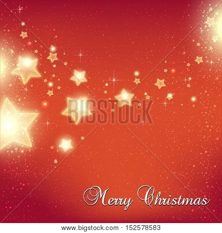 Christmas And New Year stars for celebration on red background with light dots snowflakes. Vector eps illustration. Xmas card