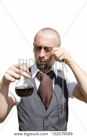 Baldness bearded man holding flask with black liquid on white background