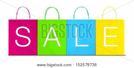 Four Paper Different Colored Shopping Bags With Sale Inscription