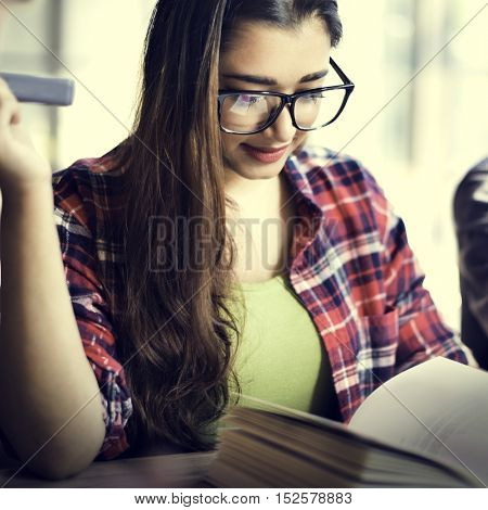 Students Reading Book Brainstorming Concept