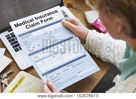 Medical Insurance Claim Form Document Concept