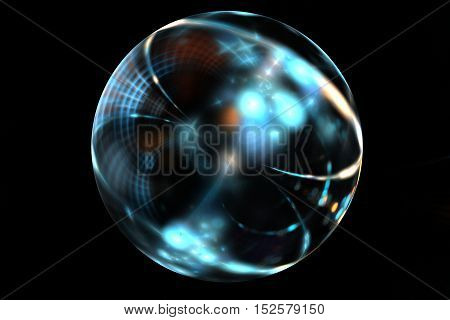 Abstract fractal art brilliant blue ball on black backdrop