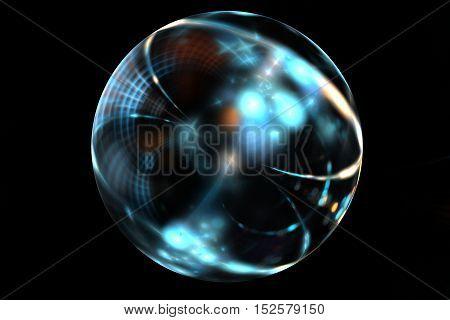 Abstract fractal art brilliant blue ball on black backdrop