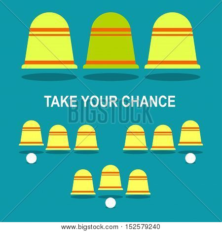 Shell game Vector illustration Different options of a winning combination in the shell game