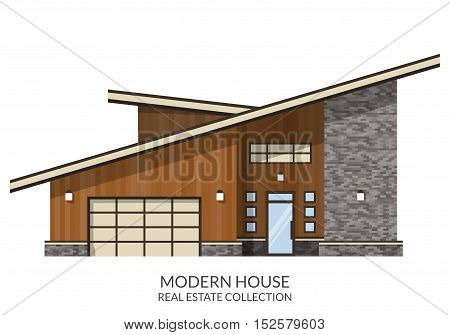 Modern country house, real estate sign in flat style. Vector illustration.