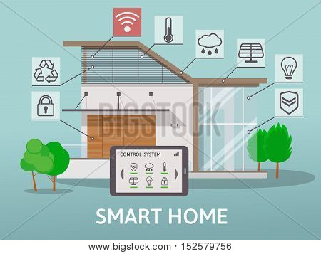 Modern Big Smart Home with terrace. Flat design style concept, centralized control system. Vector illustration.