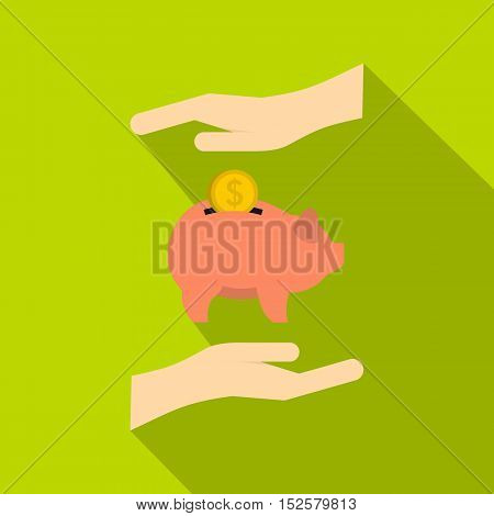 Piggy bank and hands icon. Flat illustration of piggy bank and hands vector icon for web isolated on green background