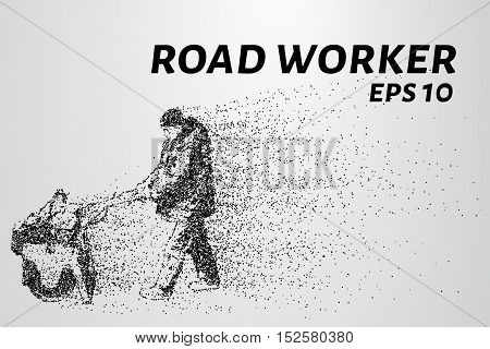 Road worker of the particles. Road worker leveled asphalt. Road work with roller.