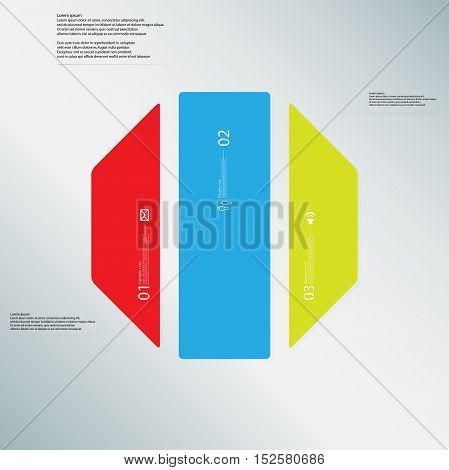 Octagon Illustration Template Consists Of Three Color Parts On Light Blue Background