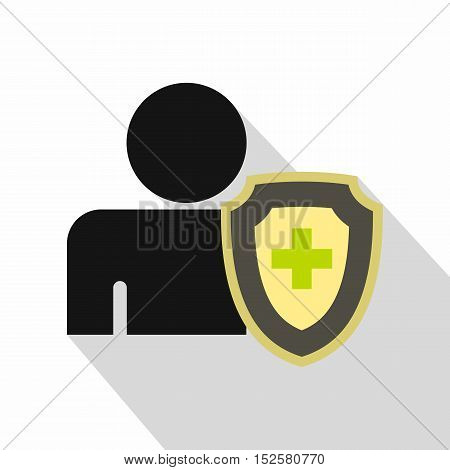 Person and medical cross protection shield icon. Flat illustration of person and protection shield vector icon for web isolated on white background