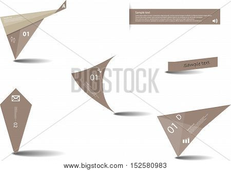 Set Of Various Graphic Elements With Brown Color