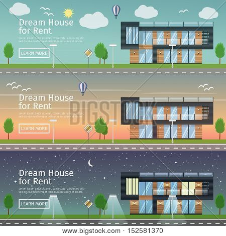 Beautiful set of flat vector web banners on the theme: modern Real Estate at different times day