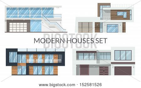 Modern big houses set, real estate signs in flat style. Vector illustration.