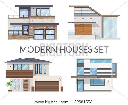 Modern houses set, real estate signs in flat style. Vector illustration.