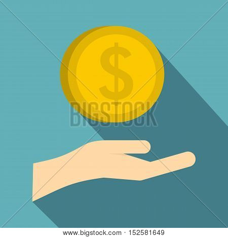 Hand and gold dollar coin icon. Flat illustration of hand and dollar coin vector icon for web isolated on light blue background