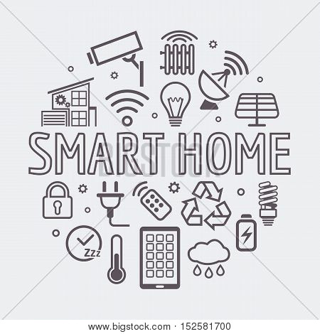 Modern Smart Home round illustration, vector symbol made with icons and word in thin line style.