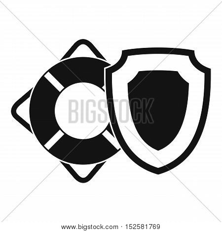 Lifebuoy and safety shield icon. Simple illustration of lifebuoy and safety shield vector icon for web